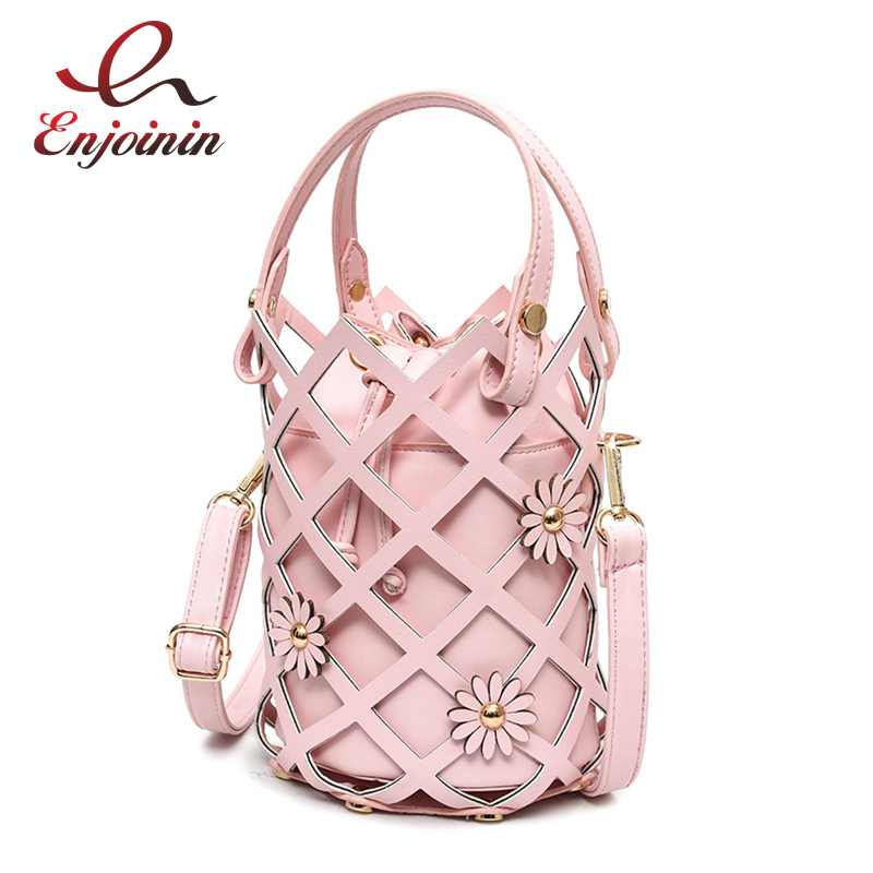 New style fashion design hollow bucket bag flowers casual ladies handbag shoulder bag female crossbody messenger bag 164 97mm 30 pin new lcd display 7 prestigio wize 3147 3g pmt3147 3g tablet lcd screen panel lens module glass replacement