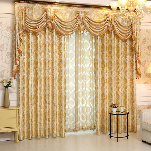 Sunnyhouseware Three Colors Jacquard Curtains And Valance Ready Made For Living Room Bay Window Decoration