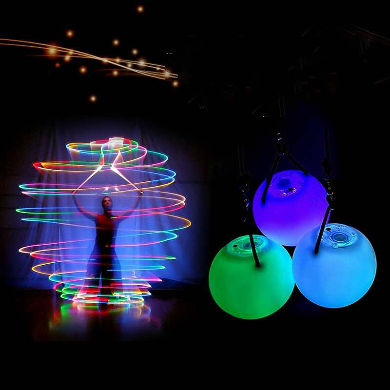 Drop Shipping 1 Pieces Belly Dance Balls RGB Glow LED POI Thrown Balls For Belly Dance Hand Props Stage Performance Accessories
