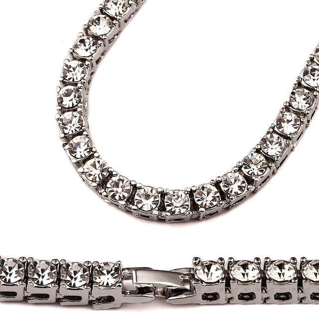 2017 New Iced Out Men Lady Tennis Necklace Fashion Cubic Zirconia 1row  crystal rhinestone White Gold color Hip Hop Jewelry f51485fa5f07