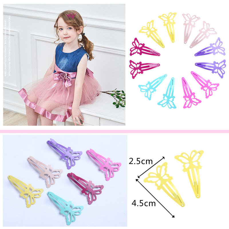12pcs Butterfly Baby Hair Clips for Girls Kids Hair Accessories Cute Snap Clip Pins Children Women Hairpins Color Metal Barrette