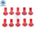10/30/50 Uds. Cables eléctricos terminales de engarzado con aislamiento de empalme rápido de bloqueo escocés conectores rojos 22-18 AWG