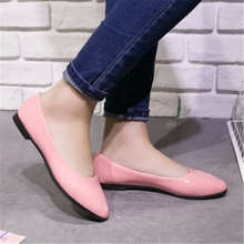 Top sale Ladies fashion leather shoes women's pointed candy color refreshing all match breathable casual shoes wear comfortable