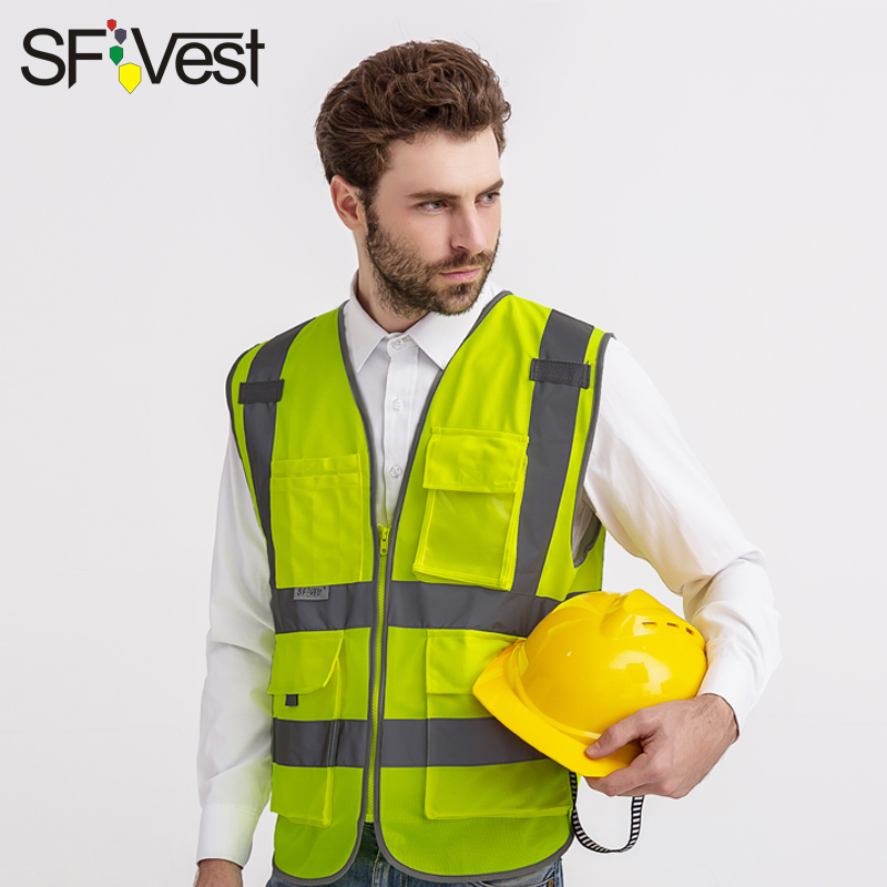 SFvest EN471 hi vis vest safety vest with logo printing workwear safety jacket free shipping 5cmx5m gray tc material reflecterende stof for jacket and vest free shipping
