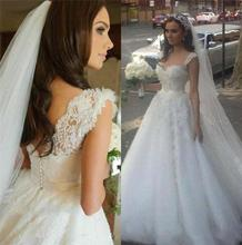 2016 vestidos de noivas para casamento de dia Hot Sale Ball Gown Appliqued Lace Wedding Gown White Bride Dress with Straps