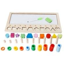 Детская деревянная обучающая счетная цифра, совпадающая в форме цифр, три в одном, цифровая логарифмическая доска для рисования Edu