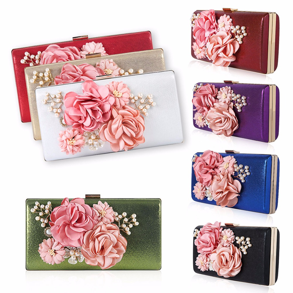 8 Color Fashion 2018 Women Flower Clutch Evening Bag Purse Handbag Wedding Party Bridal Shoulder Bags 22x4.6x12cm 8 Color Fashion 2018 Women Flower Clutch Evening Bag Purse Handbag Wedding Party Bridal Shoulder Bags 22x4.6x12cm