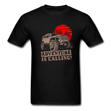 купить Vintage Jeep Sunset Desert Tshirt Adventure Is Calling AFS Car Top T-shirts Army Man Tops & Tees Party Tees 100% Cotton Clothes дешево