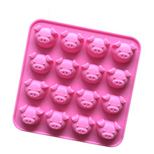 1PCS Cute Pink Pig Silicone Mold DIY Cake Decoration Cooking Mould Jelly Ice Baking 16holes Cake Moulds Kitchen Accessories