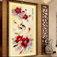 Diamond Sticker Printing Cross Stitch Entrance Vertical Version Of The Latest Nine Peony Fish Enrichment Year