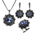 Fashion Jewellery Black Rhinestone And Blue Austria Crystal Flower Design Silver Plated Vintage Jewelry Sets For Women Gift