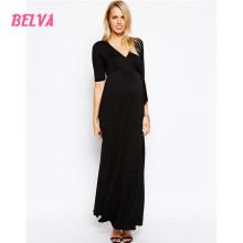 Belva Mommy Black Bamboo Maternity and Nursing Half Sleeve Dress long maternity gowns elegant pregnant party dress 578616