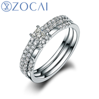 ZOCAI 2014 New Arrival 100 Natural Diamond Ring 0 54 Ct Certified Diamond 18K White Gold