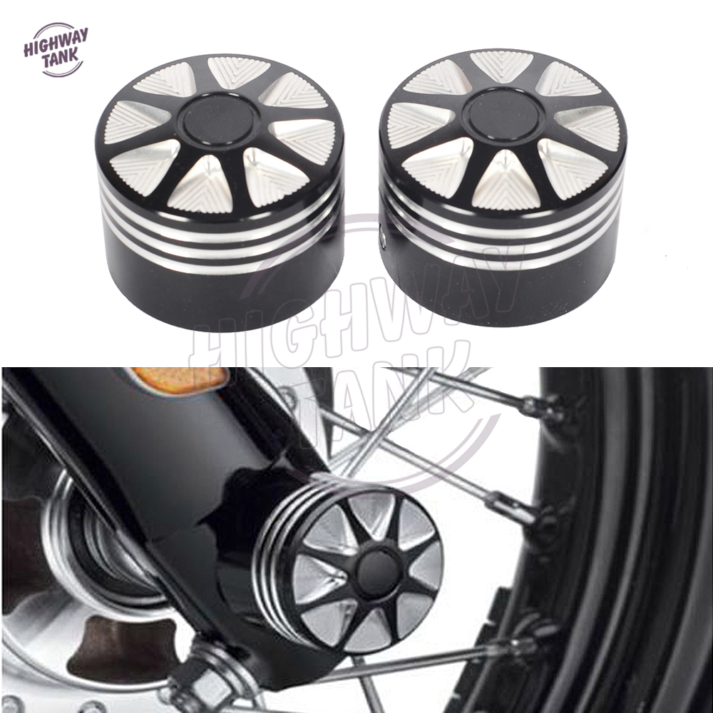 Black Edge Cut Motorcycle Front Axle Nut Cover Bolt Kit Case for Harley Touring Softail  ...
