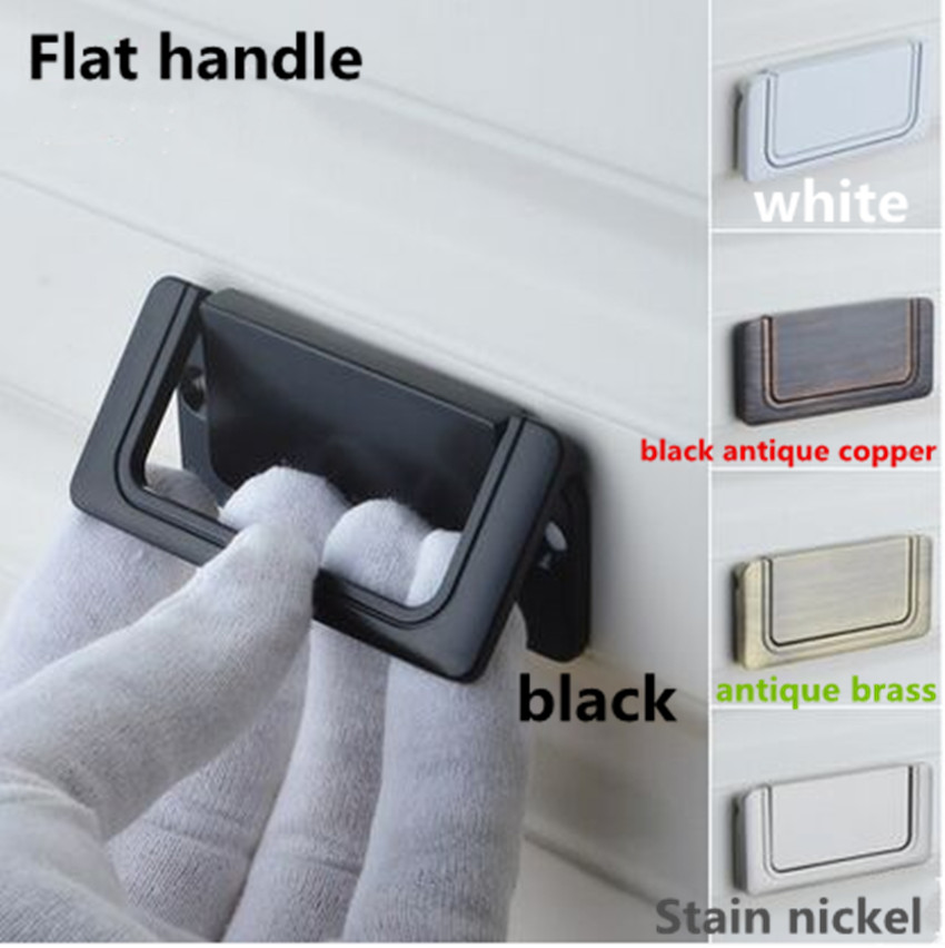 modern simple balck white stain nickel drawer tv cabinet Flat pull knob black antique copper antique brass unfold install 32 64