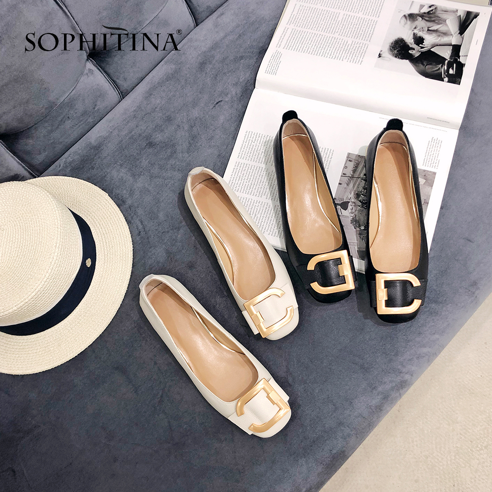 SOPHITINA New Women s Pumps Comfortable Genuine Leather Spring Fashion Metal Decoration Shoes 2019 Handmade Casual