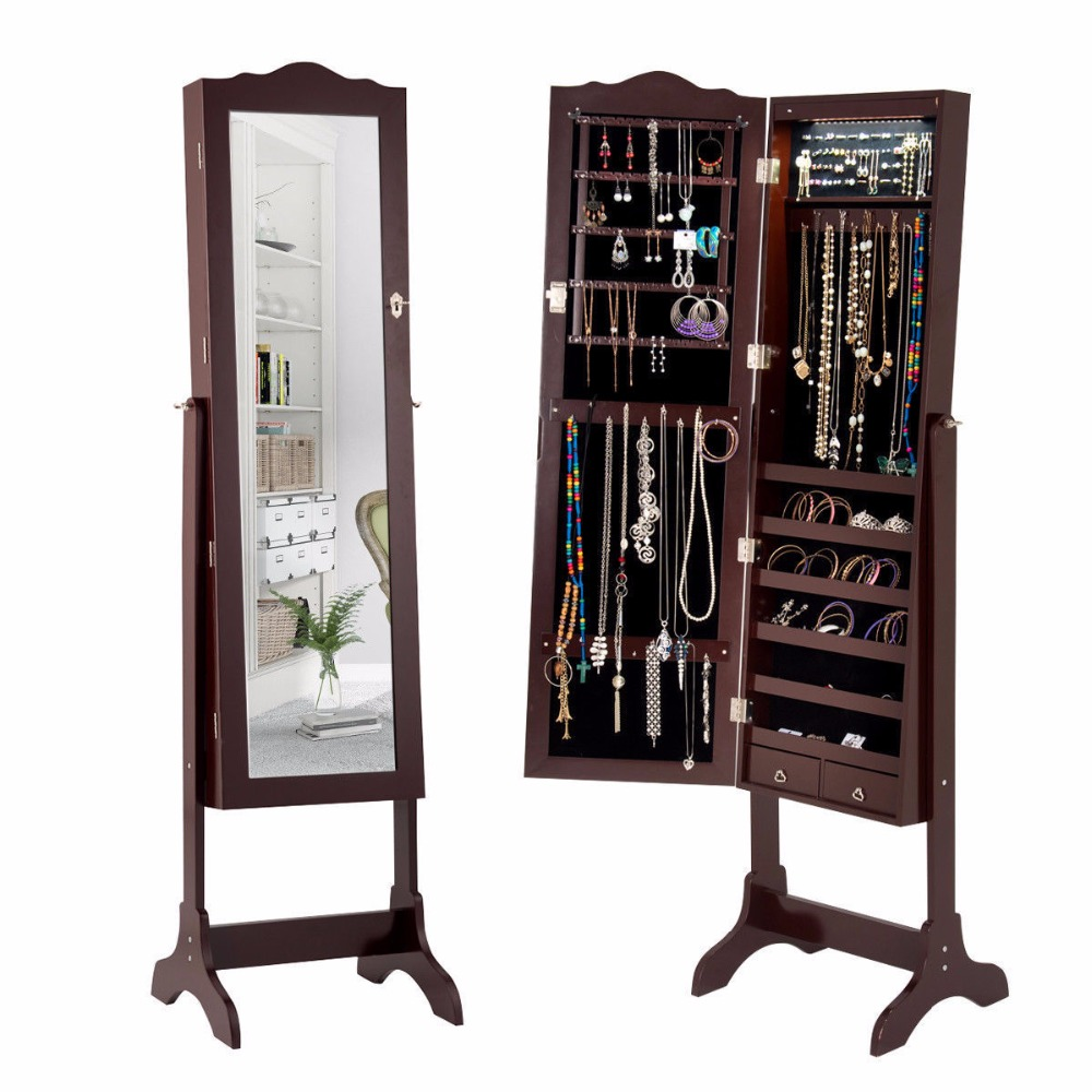 Giantex Mirrored Jewelry Cabinet Armoire Storage Organizer w/Drawer & Led Lights Brown Home Furniture HW58852 : 91lifestyle