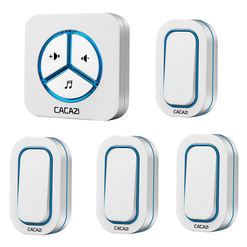 CACAZI doorbell 280M remote AC 110-220V US EU UK AU Plug Wireless Door bell 48 rings door chime 4 waterproof buttons+1 receiver
