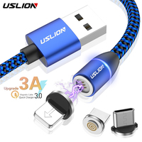 USLION 3A Magnetic USB Cable LED Fast Charging Type-C Mobile Phone Magnet Type C Micro Adapter Charger For Iphone XS 7 8 Samsung Mobile Phone Cables