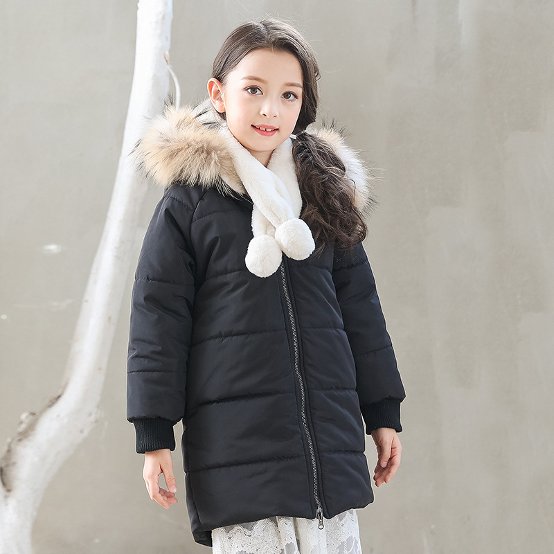 black fur hooded long thick jackets for girls fleece cotton warm coats kids clothing children winter padded coat kids цены онлайн