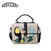 BENVICHED 2018 moda kanvas çanta kadın hit renk dikiş çiçekler ve kuşlar küçük kare çanta omuz Messenger çanta R370
