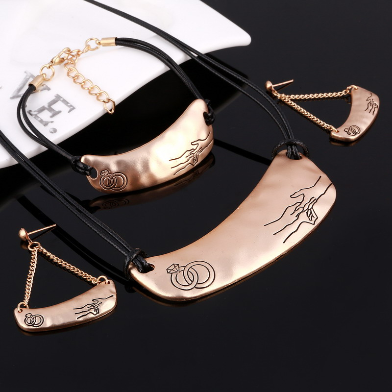 Leather Jewelry Set 3pcs Silver Gold Fashion Party Wedding Bridal Choker Necklace Earring Sets Bangle Accessories
