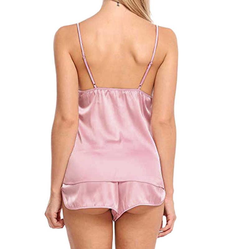 Dziewczyna bielizna nocna piżama Sexy kobiety pidżama z satynowego jedwabiu zestaw kobiet góry piżamy krótki rękaw garnitur odzież damska zestaw 2019