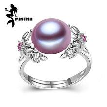 MINTHA 10-11mm pärlsmycken, bohemia pärlringar för kärlek, sötvattenspärla 925 silverring, rubin silverringar för kvinnor presentförpackning