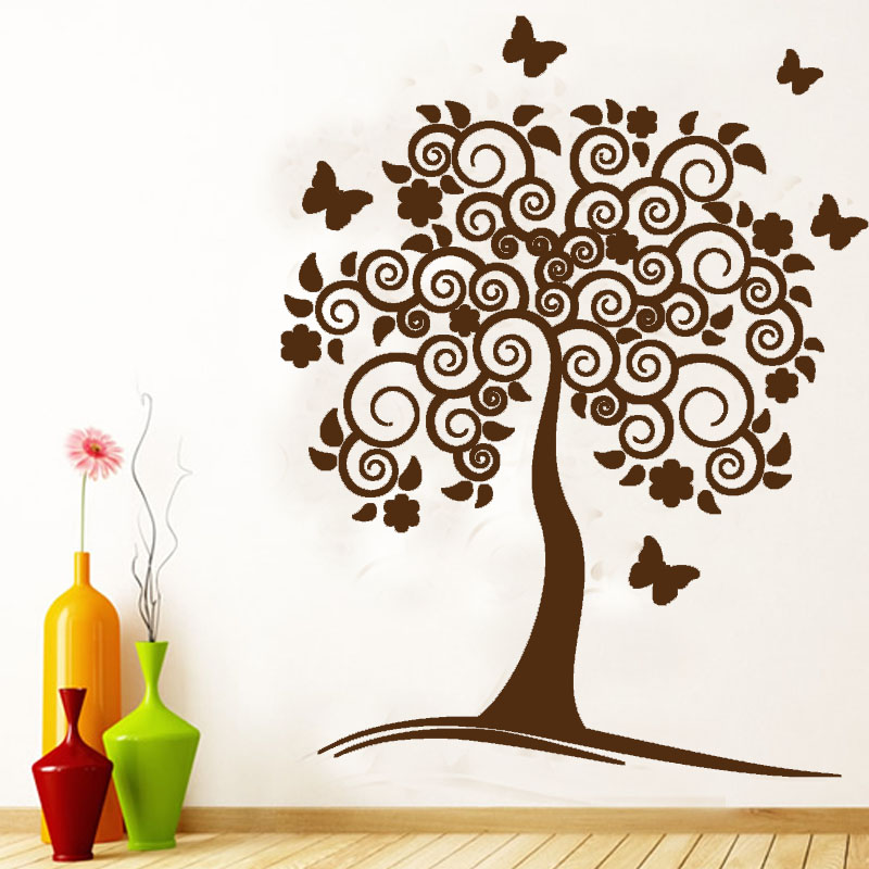 Tree Wall Decor dctop vinyl removable wall decals swirl flower tree wall decor