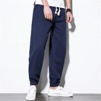 Japanese Style Men Sweatpants Cotton Linen Harem HipHop Baggy Fitness Joggers Wide Legs Straight Pants Plus Size M 5XL Solid