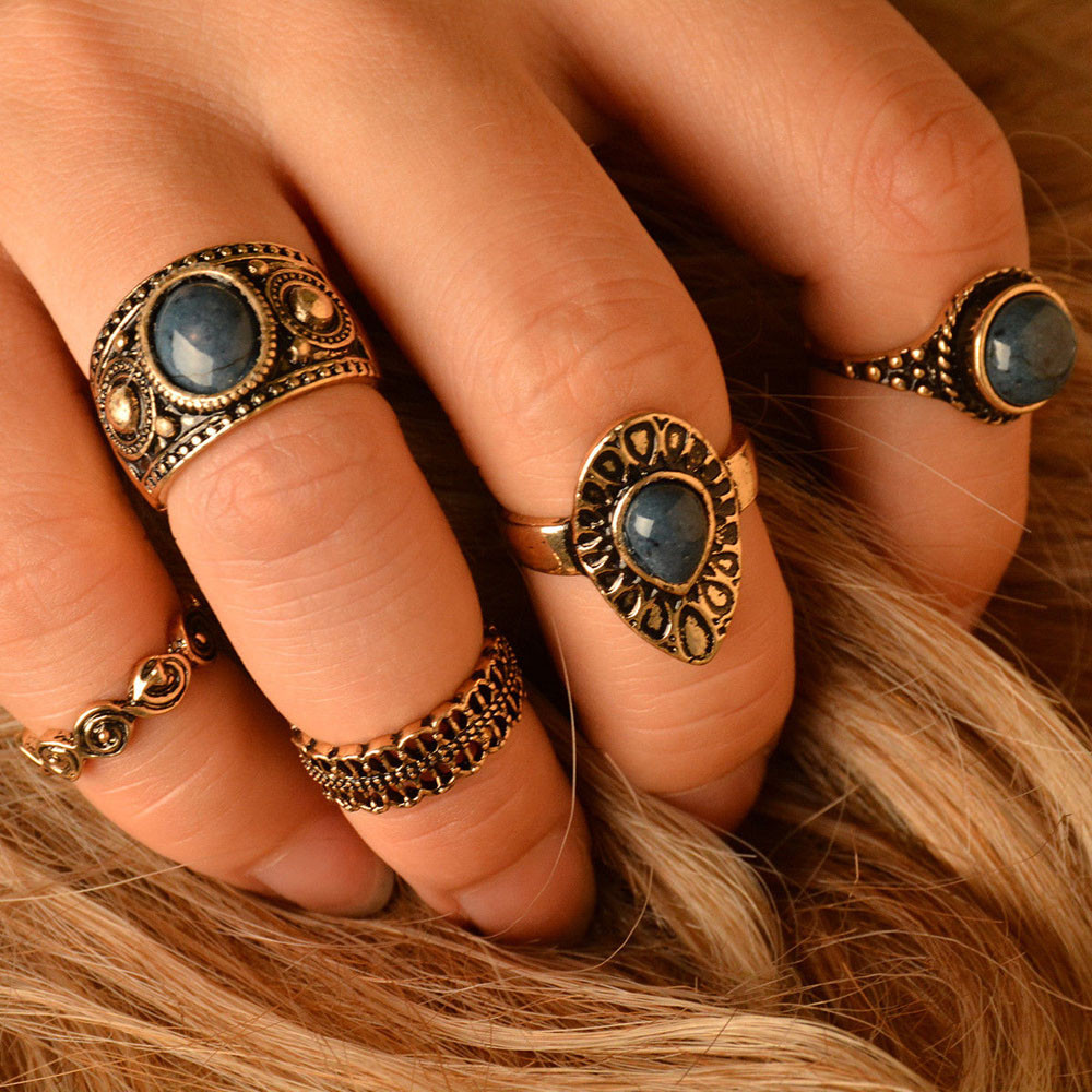 2017 Hot Sale Latest Fashion 5pcs/Set Women Bohemian Vintage Silver Stack Rings Special Style Unique Above Knuckle Rings Set Wed