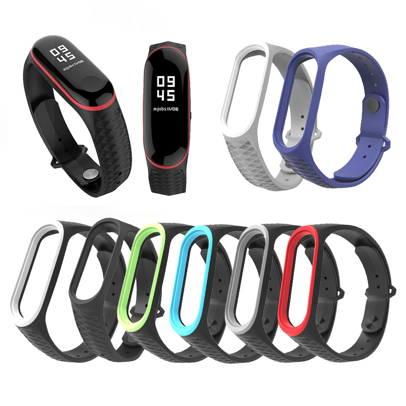Diamond Replacement Strap For Xiaomi Mi Band 4 Wristband Sports Silicone Two-color Reverse Buckle Strap For Millet Bracelet 4