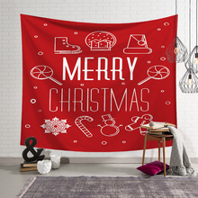 Christmas Wall Hanging Tapestry Fireplace Sled Elk Santa Claus Bedroom Cloth Table Background Home Decoration
