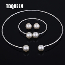 Здесь можно купить  TDQUEEN Party Jewelry Set New Arrival Brand Fashion Simulated Round Pearl Simple Design Woman Gift Necklace/Earring/Bracelet Set