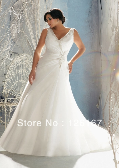 High Quality Plus Size Wedding Dresses New arrival v-neck Beading bridal Dresses Wedding Gowns Vestidos de Noiva Dress Bride Gow