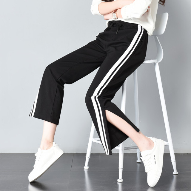 5c6a505c4a9a2d Aliexpress.com : Buy 2018 Women Long Pant Casual Style Side Belt White  Striped Stitching Wide Leg Pants Black Casual Loose Straight Trousers Female  from ...