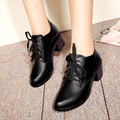 Genuine leather woman shoes 2017 autumn leather round thick with deep mouth singles shoes comfortable wild free shipping