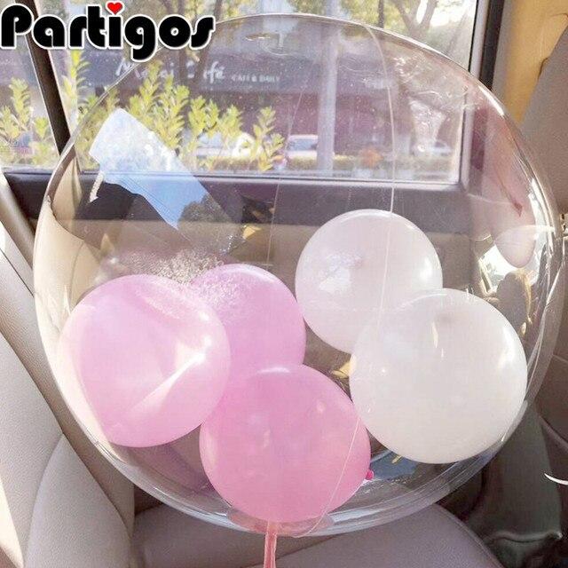 20pcs 10/18/24/36 inch transparent Foil Balloons Wedding Birthday Party Clear Bubble Round Helium Globos Confetti Decor