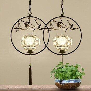 Ferro de cerâmica clássico pingente luzes estudo sala estar quarto personalidade criativa pássaro árvore cerâmica luminária za zs17