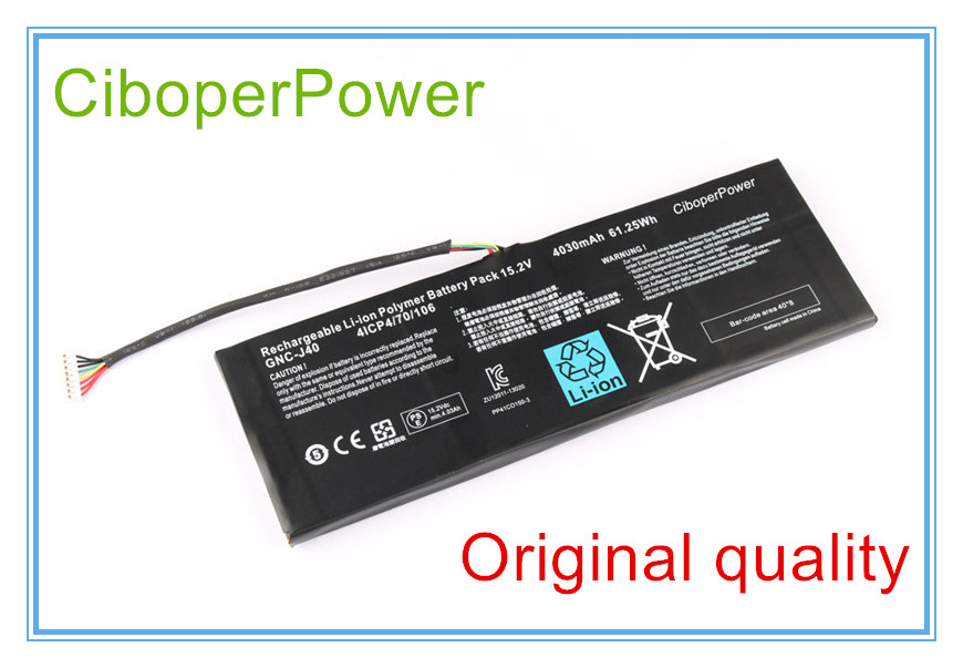 15.2V 4030mAh 61.25Wh Laptop Battery GNC-J40 961TA013F For P34W P34K P34F P34G V2 V3 V4 V5 V7 Series slim laptop charger 19 5v 7 7a 19v 7 9a ac power adapter for gigabyte aero 14 15 15w v8 15w bk4 p34k v3 v5 p34w v3 v4 v5 p35g v2