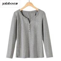 Yalabovso 2017 Autumn Korea Styles New Arrivals Cotton V Neck Tops Long Sleeve Bottoming Slim T