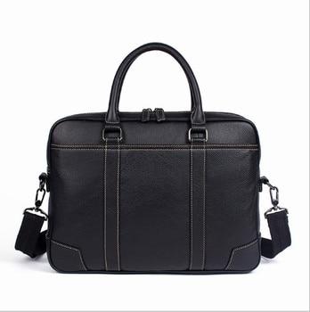 2018 Genuine  leather men's cross-section business men's handbag briefcase  shoulder  messenger bag Briefcases