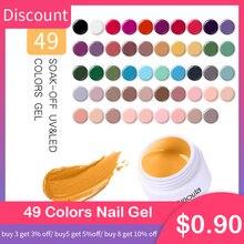 Harunouta 49 Colors Gel UV Nail Gel Soak Off Purple Red Nail Art led Glitter Nail Lacquer DIY Paint Gel UV Gel Nail Polishes недорого