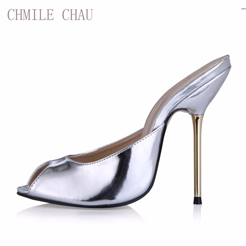 CHMILE CHAU Sexy Party Shoe Women Peep Toe Stiletto High Iron Heels Ladies Slides Sandals Plus