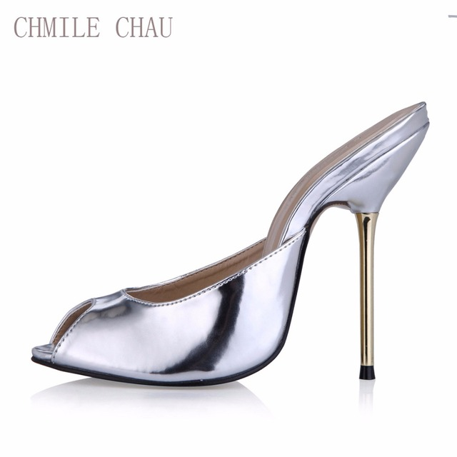 CHMILE CHAU Sexy Party Shoe Women Peep Toe Stiletto High Iron Heels Ladies Slides Sandals Plus Sizes 10.5 Zapatos Mujer 3845-FA5