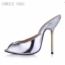 CHMILE CHAU Sexy Party Shoe Women Peep Toe Stiletto High Iron Heels Ladies Slides Sandals Plus Sizes 10.5 Zapatos Mujer 3845-FA5