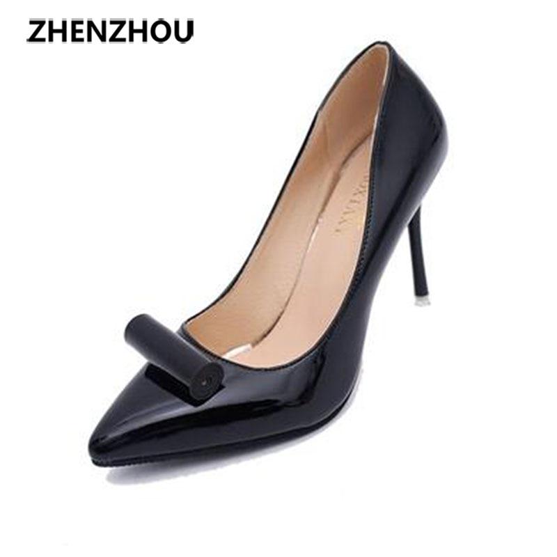 2016 kadın ayakkabı Sonbahar bayan ayakkabıları, sivri topuklu ayakkabı ile sığ bir ile mizaç kariyer tek ayakkabı