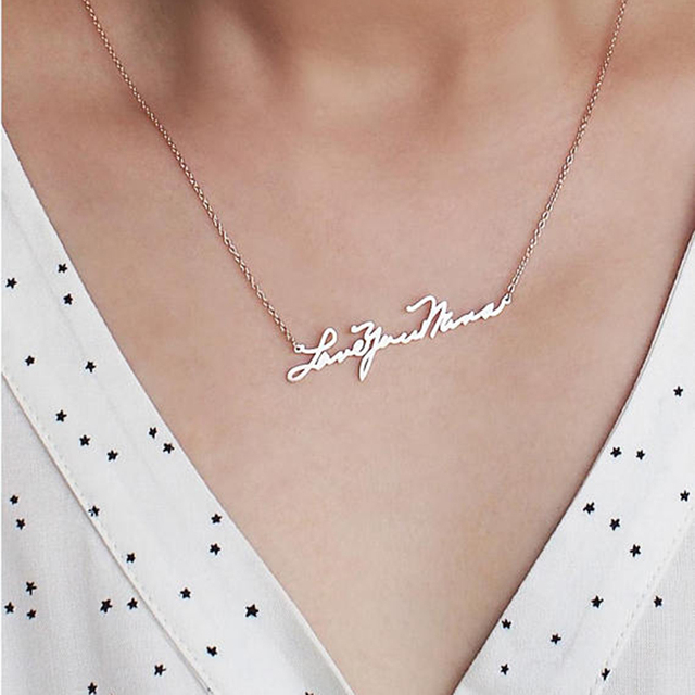 Acier inoxydable nom plaque colliers personnalisé écriture à la main nom personnalisé Signature colliers bijoux femmes cadeau