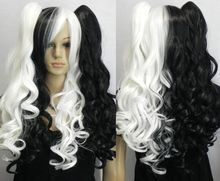 new woman multi color long curly cosplay full wig wig pigtail 4 Synthetic fibre hair