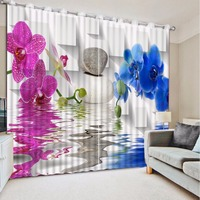 3D Curtain Photo Custom Size Stone Purple Flower Blue Flower Lattice Curtains For Bedroom Curtains For Living Room